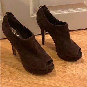 Vince Camino suede brown open toed bootie heels
